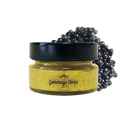 Gommage corps or/caviar 60ml Graine de Plaisir made in France grains de cassonade et extrait de caviarformat voyage