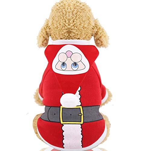 HJFDEW Ropa de Invierno para Perros de Navidad para Perros pequeos, Disfraz de Perros de Santa, Sudaderas con Capucha para caniche, Yorkies, Abrigo para Perros, Suministros para Mascotas