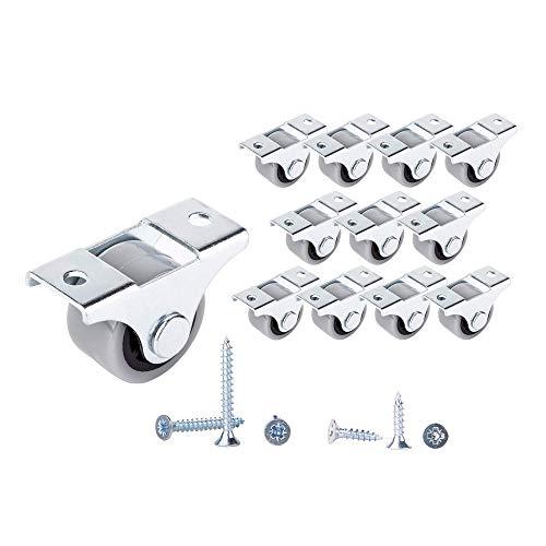 Lot de 12 petites roulettes en caoutchouc 25 mm pour meubles, non pivotantes, sans plastique, pour appareils et équipements