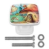 Perillas de gabinete, paquete de 4 Casa de setas de dibujos animados Perillas de vestuario Perillas de tocador en forma de joyero Paquete de 4 3x2.1x2 cm