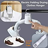 Kitt Folding Travel Electric Clothes Drying Rack Portable Mini Clothes Dryer Fast Drying Cloth Suit Hanger Dryer 110V-220V Clothing Drying Hanger with Shoes Dryer