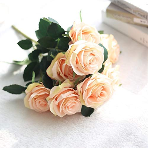 LaiYueShangMao Beautiful 10 roses artificial flower big bouquet silk flower wedding family party decoration fake flower autumn decoration Home Garden Decorating (Color : B pink)