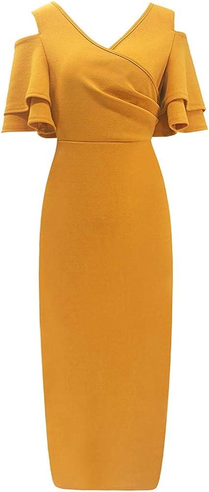 WSIRMET Women's Sexy V Neck Cold Shoulder Short Ruffle Sleeve Solid Color Bodycon Slim Formal Cocktail Midi Pencil Dress