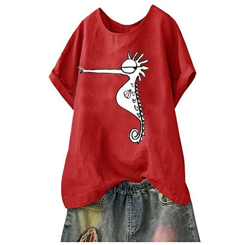 Andouy Damen Mode Lustige Muster Tees Beiläufige Feste Gedruckte Lose Flügelhülsen Gr.40-54 Übergroße T-Shirt Tops(XL(46).Rot-Seepferdchen)