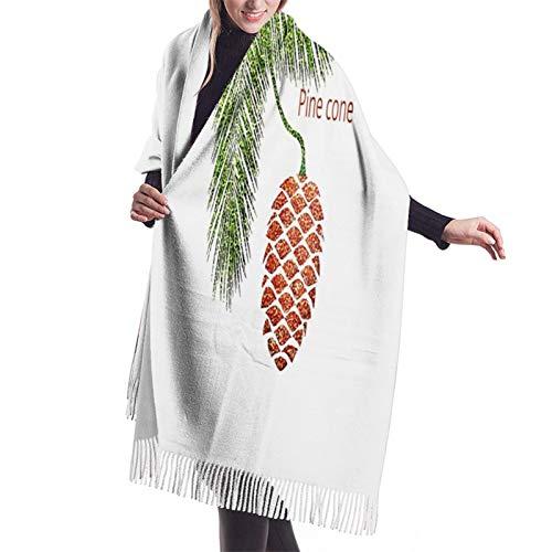 Vcxbsdvbd Pine Cone And Leaves Cartoonfashion Cashmere Big Shawl Winter Thick Warm Scarf Wrap Shawl 77'X 27