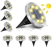 Solar Ground Lights Outdoor, AMBOTHER Solar Garden Lights IP65 Waterproof LED Solar Lights Disk Lights 6000K Cold White &...