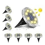 AMBOTHER A-SL-01 Solar Bodenleuchten, 8 LEDS Solarleuchten Solarlampen Gartenleuchten für Außen, 3000K Warmweiß Solarlicht Garten Licht, IP65 Wasserdicht für Rasen, Patio, Hof, 8er Pack