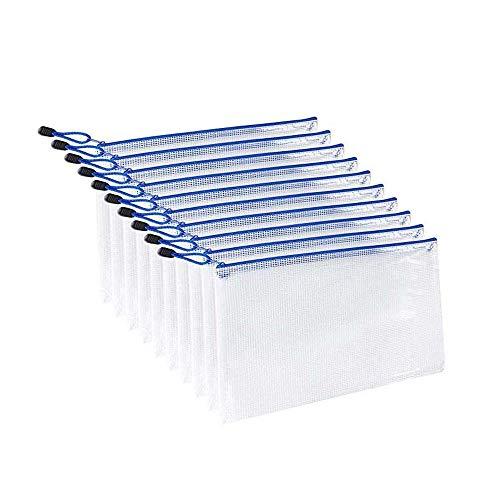 ジッパー式ファイル袋 A5メッシュファイルバッグ ファスナーフォルダー 撥水 網目 ファスナ付き 旅行収納バッグ オフィス用品 防水 半透明(10個セット)