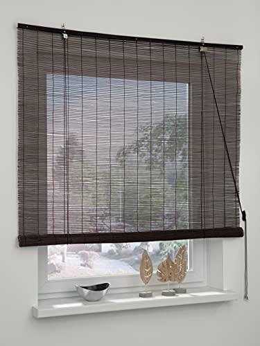 GARDINIA Bambus Rollo Schoko, Decken- oder Wandmontage, Lichtdurchlässig, Transparent, Alle Montage-Teile inklusive, 100 x 160 cm (BxH)