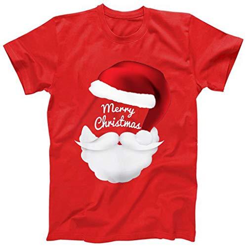Hniunew Fasching Cosplay Tshirt Herren Santa Claus Fun Shirts O-Neck NikolausmüTze Bart Muster Freizeit Lustige Kurzarm Tee Tops BeiläUfige Herrenhemden Oberteil Weihnachtst-Shirt Tshirts