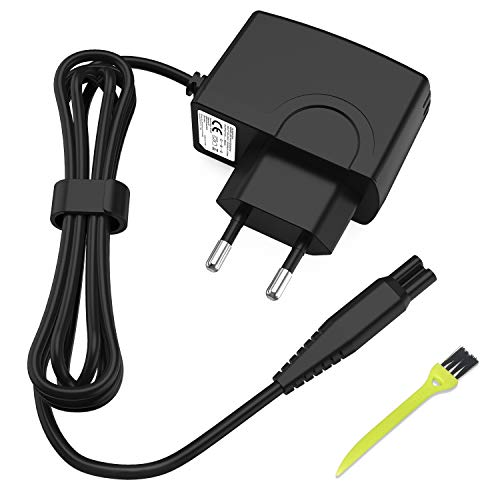 NEW POW Chargeur Rasoir électrique 15V 500mA Adaptateur Secteur Alimentation pour Norelco HQ RQ AT PT Series,6/7/8 series, Quadra,Cool Skin,Sensotec,Speed-XL,Smarttouch, Arcitec(Noir)