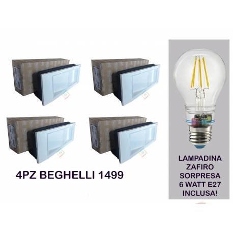 Kit Beghelli-PLAFONIERA 4lámparas de emergencia 11W LED 1499K + incluye lámpara Zafiro 6W 2700K anti Blackout
