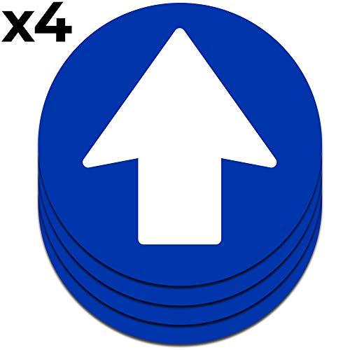 Flecha adhesiva multiuso | Pack de 4 señales de 16,5 cm para el suelo, paredes, puertas, etc.