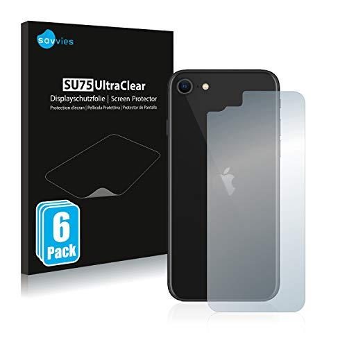 Savvies 6X Schutzfolie kompatibel mit Apple iPhone SE 2 2020 (Rückseite) Displayschutz-Folie Ultra-transparent