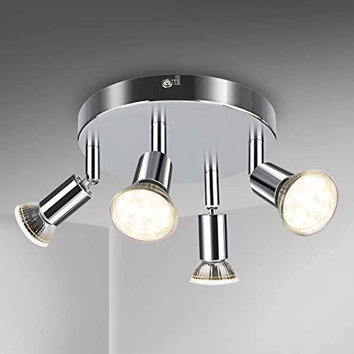 Volasal LED Deckenstrahler 4 Flammig, Schwenkbar LED Deckenleuchte, ø110mm (inkl. 4 x 4W GU10 LED Leuchtmittel, 400LM, Warmweiß) Modern Wohnzimmer LED Deckenspot, Rund LED Deckenlampe