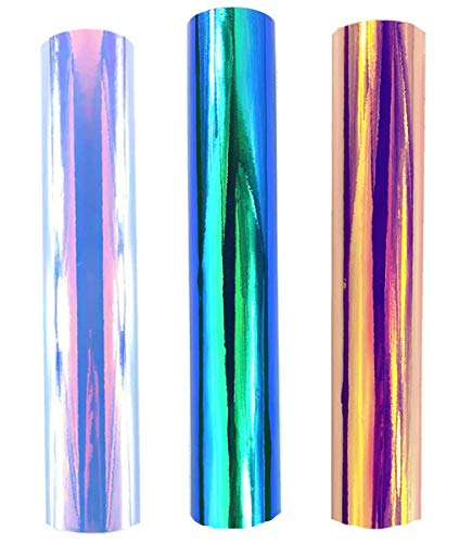 Redodeco Glänzende Holografische Opal-Vinyl-Chrom-Klebefolie, permanente Vinylfolie, Rolle, 30cm x 30cm, 3Bögen Multicolor-1