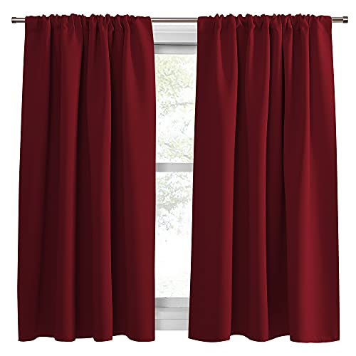 PONY DANCE Kitchen Blackout Curtains - Xmas Festival Decor Window Treatments Drapes Room Darkening Thermal Curtain Draperies for Home Decoration, W 52 by L 54 inches, Red, 2 Pieces