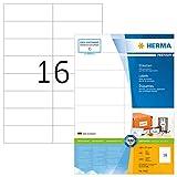 HERMA 4462 Universal Etiketten DIN A4 (105 x 37 mm, 100 Blatt, Papier, matt) selbstklebend, bedruckbar, permanent haftende Adressaufkleber, 1.600 Klebeetiketten, weiß