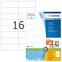 HERMA 4462 105x37mm Colour Laser Paper Rectangular Premium Multi Function Labels - Matte White (1600 Labels, 16 per Sheet)