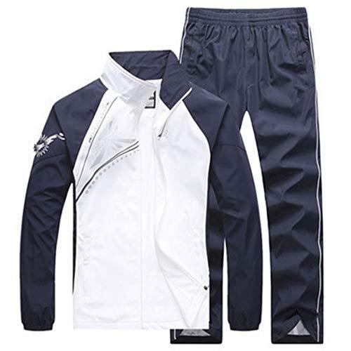 LUCKYOUNG Conjunto de chándal deportivo ajustado para mujer, 2 piezas, con cremallera completa, casual y activo, para correr - blanco - XS