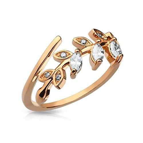 Autiga Fingerspitzenring Midi Knöchel Nagel Ring Zehenring Blatt Blätter Leaf Boho Bohemian rosègold