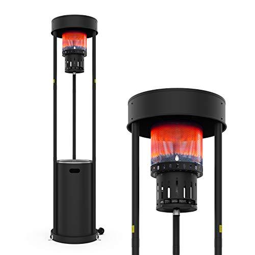Calefactor de gas Terra Hiker de 16 kW (55.000 BTU), calefactor de gas, calefactor de terraza, jardín con ruedas para restaurante, bar, instalación en 15 minutos, utiliza propano o butano o gas LPG