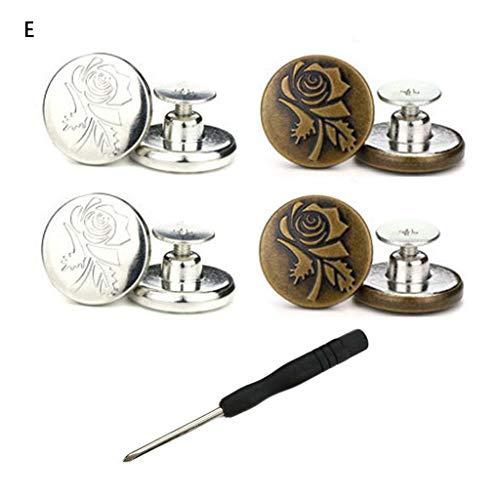 Grbewbonx 1 Juego de Pantalones Vaqueros de Metal Desmontables con Botones, Aumento de Cintura, reducción de Botones, Cierre de Pantalones, Kit de fijación de Costura DIY