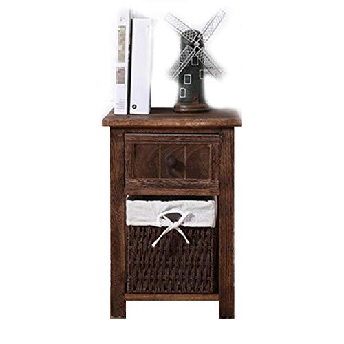 HXXXIN Simple Pastoral Fabric Weaving Basket Furniture Bedroom Storage Cabinet Bedside Table Multifunctional Rattan Cabinet Storage Small Cabinet,Brown