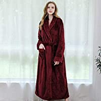 SDCVRE Winter bathrobe,Women Winter Thicken Warm Flannel Long Bathrobe Plus Size Lovers Couples Bath Robe Night Dressing Gown Men Nightgown,Women Red,M (40,60kg)