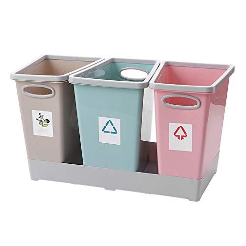 Mülleimer Poubelle Abfalleimer Klassifizierung Abfallbehälter 3-in-1 No Cover Trockene und nasse Trennung Papierkorb Schmale Küche Wohnzimmer Badezimmer 44,5 * 19 * 26,5 cm Rollsnownow