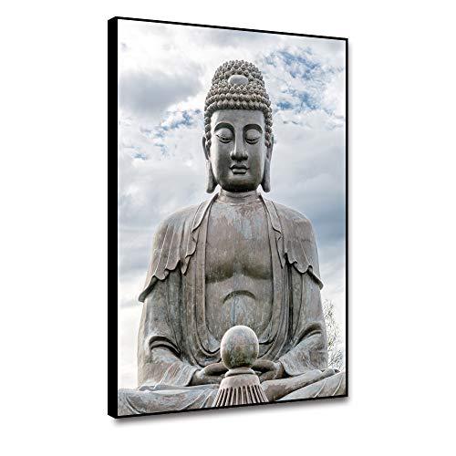 shensu Framed Buddha Canvas Wall Art Buddhist Big Stone Prints Peaceful Sky Clouds Zen Meditation Wall Decor for Living Room Bedroom Bathroom Kitchen Office Modern Home Decoration Artwork 12x18inch