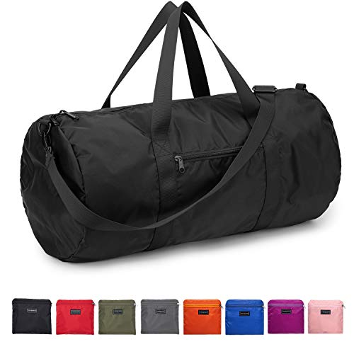 Vorspack Small Duffel Bag 20 Inches Foldable Gym Bag for Men Women Duffle Bag Lightweight with Inner Pocket for Travel Sports - Black
