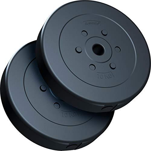 ScSPORTS® 20 kg Hantelscheiben-Set, Kunststoff, 2 x 10 kg Gewichte, 30/31 mm Bohrung, durch Intertek geprüft + bestanden¹