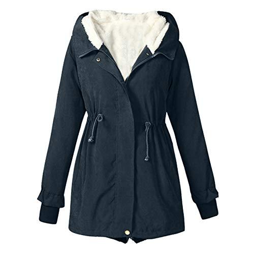 Abrigo de mujer con capucha Color sólido Fuzzy Fleece Warm Overcaot Trim manga larga Outwear Zip Up a prueba de viento botón Down Coat