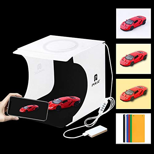 Mini caja de estudio de fotos portátil para objetos pequeños, Macro Fotografía, LightBox plegable tienda de tiro, cargador de pared USB de doble puerto, cable divisor USB de 1 m, Size 9.4x9.1x8.7'