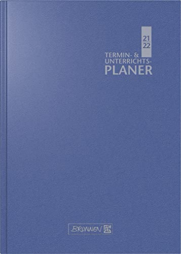 BRUNNEN 1075960302 Lehrerkalender/Termin- & Unterrichtsplaner ( Wochenkalender) 2021/2022, 2 Seiten = 1 Woche, Ãœberformat A5: 17 x 24 cm, Baladek-Einband blau