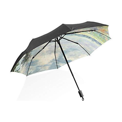 Sonnenschirm Regenschirm Ölgemälde Regenschirmfelder In Der Nähe Von Frauen Regenschirme Anti-Uv-Sonnenregen Dauerhafter Automatischer Regenschirm Fullautomatic