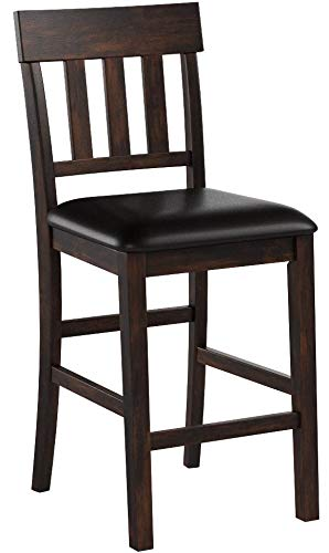 """Signature Design by Ashley Haddigan 24"""" Counter Height Upholstered Barstool Set of 2, Dark Brown"""