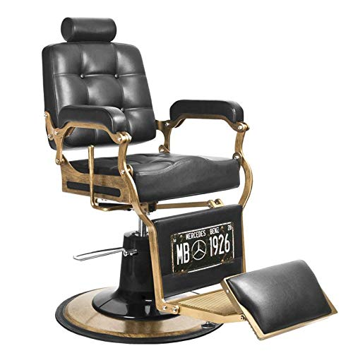 GABBIANO BOSS - Poltrona da barbiere BarberPub Poltrona reclinabile idraulica Salone di bellezza : Nero