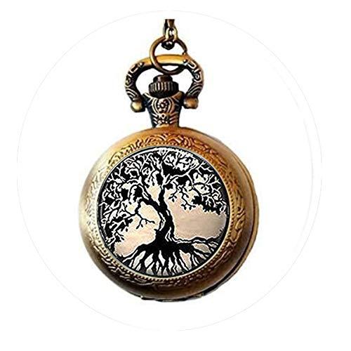 bab Schlüsselanhänger mit Glasfliesen, Baum des Lebens, Glasfliesen-Schlüsselanhänger, Taschenuhr, Halskette, Bibelzitat, Anhänger