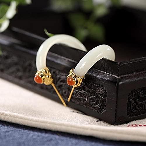 YUNHE Pendientes de Gancho curvados de Jade Blanco Hetian Natural Estilo Chino Estilo Palacio Retro Encanto Artesanal de Oro Antiguo único para Mujeres Dan Regalos