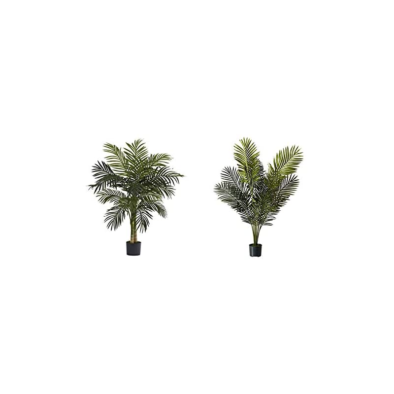 silk flower arrangements nearly natural 5357 4ft. golden cane palm tree,green & 5ft. paradise palm artificial plant, 46x44x60, green