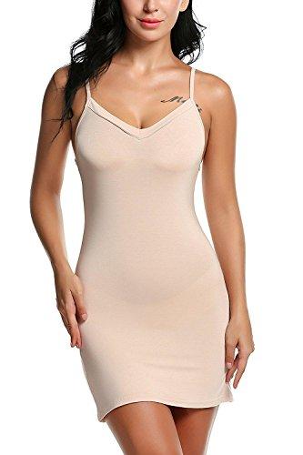 Avidlove Damen Unterkleid Frauen Unterröcke Nachthemd Nachtwäsche sexy Negligee Miederkleid mit Trägern Shapewear Kleider, Aprikose, 46