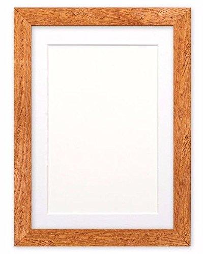Fotolijst met passe-partout, van hout, om op te hangen of neer te zetten, met onbreekbaar styreenplaat, teak-lijst met witte passe-partout, 35,6 x 27,9 cm, voor 25,4 x 20,3 cm