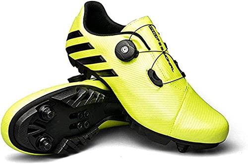 KUXUAN Zapatillas de Ciclismo SPD MTB para Hombres y Mujeres, Ideales para Bicicletas de Montaña Cross Country XC Incluidas,Green-46 EU