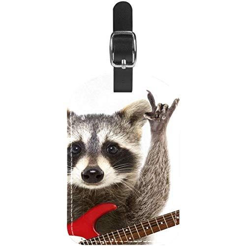 Etiquetas para Equipaje Mapache mecedor con Guitarra Etiquetas de Cuero para Maletas de Viaje 1...