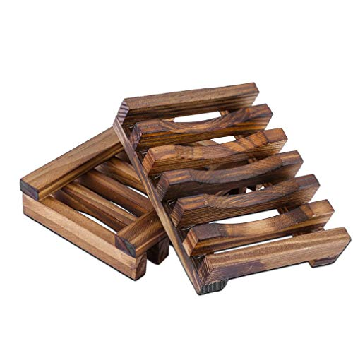 Pubiao 2 Piezas - Jaboneras Caja de jabón de bambú de Madera Natural Bandeja para Manualidades para Cocina Jabón de Ducha de baño para el hogar, Almacenamiento de esponjas