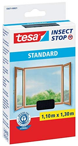Tesa® Insect Stop Standard Lot de 4 moustiquaires pour fenêtre, presque transparent (1,10 m x 1,30 m Anthracite)