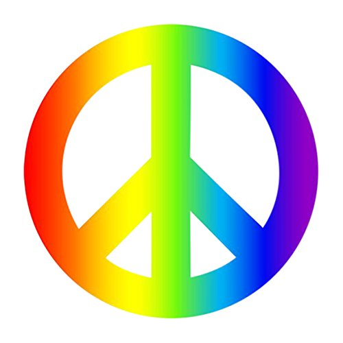 Rogue River Tactical 4 Pack Rainbow Peace Sign Car Decal Bumper Sticker Gay Pride LGBT Gay Lesbian Bisexual Transgender Support Car Truck Boat RV SUV Van (Peace)