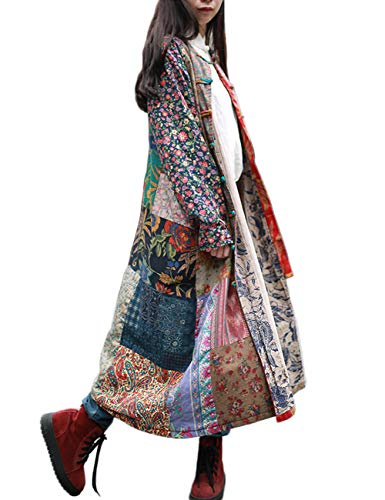 LZJN Women's Trench Coat Floral Print Jacket Chinese Style Outwear (B)